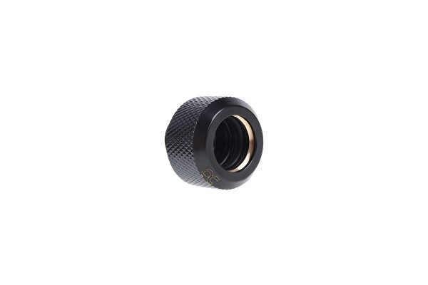 Alphacool Eiszapfen 13mm HardTube compression fitting G1/4 for brass tubes - knurled - deep black